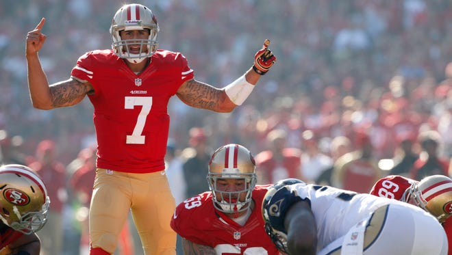 Colin Kaepernick threw three interceptions the first time the 49ers played the Seahawks this season.