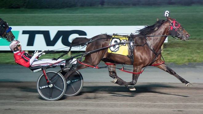 Dancin Lou and driver Dexter Dunn are clear at the wire in the Saturday, June 13, 2020, feature at the Meadowlands.