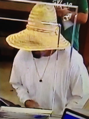 Surveillance footage of a man suspected of trying to rob a Palm Springs bank Monday morning.