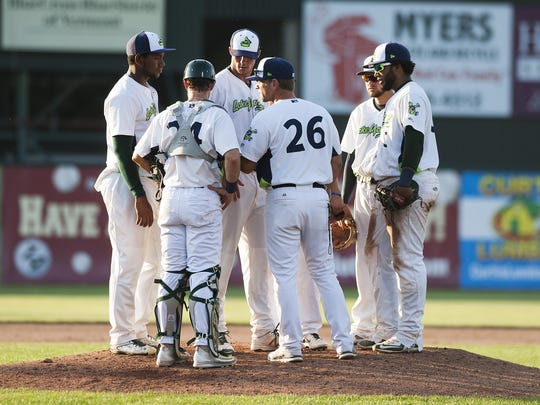 Vermont manager Aaron Nieckula talks to the infield during the baseball game between the Connecticut Tigers and the Vermont Lake Monsters at Centennial Field last year.