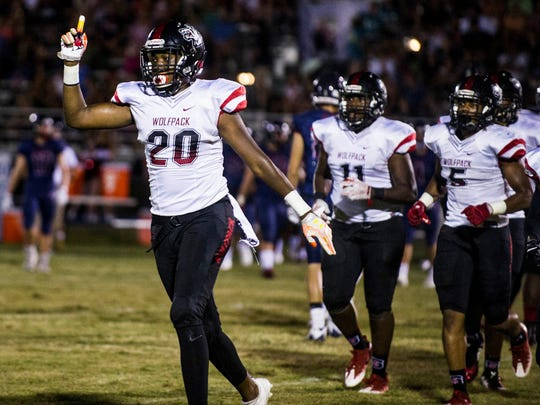 South Fort Myers tight end Isaiah Greene celebrates after South Fort Myers recovered a fumble from Estero High School at Estero on Friday, September 22, 2017.