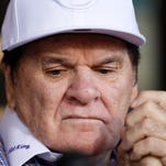 Former Cincinnati Red and MLB all-time hit leader Pete Rose makes a statement during a press conference at the Pete Rose Sports Bar and Grill in Las Vegas on Dec. 15.