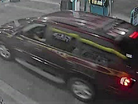Vehicle allegedly used in Valero gas station robbery on March 21.