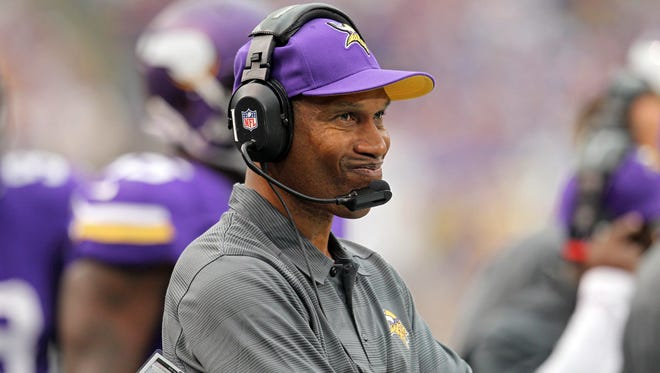 Minnesota Vikings head coach Leslie Frazier looks on during the first quarter against the Cleveland Browns at Mall of America Field at H.H.H. Metrodome. The Browns defeated the Vikings 31-27.
