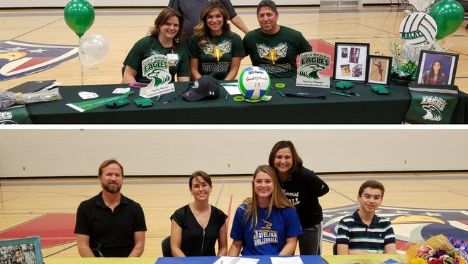 Veterans Memorial volleyball players Malayna Urive, top, and Jordan Wonders signed with colleges to play volleyball on Wednesday.