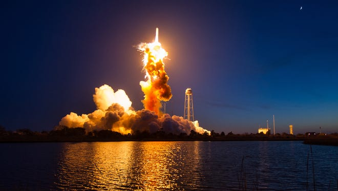 A recently released NASA image, shows an unmanned Orbital Antares rocket  blowing up over the Wallops Flight Facility in Virginia six seconds after liftoff on Oct. 28, 2014. The Cygnus spacecraft was filled with supplies slated for the International Space Station, including science experiments, experiment hardware, spare parts, and crew provisions.