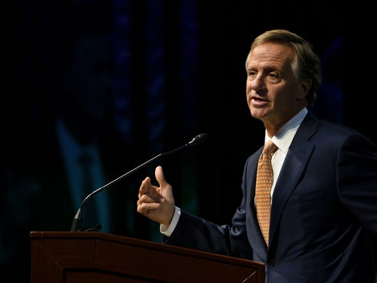 Gov. Bill Haslam addressing the Knoxville Chamber during their annual breakfast Friday, Feb. 17, 2017 in Knoxville.
