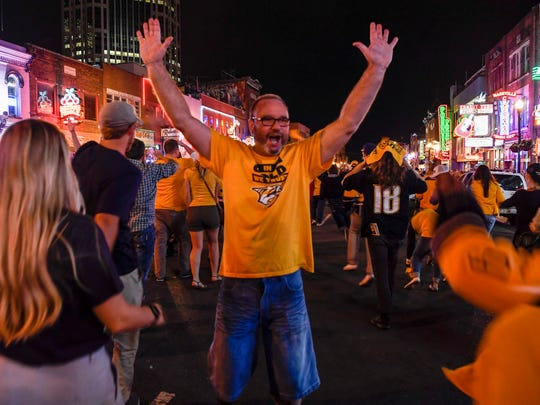 Fans react to the Nashville Predators' win over the