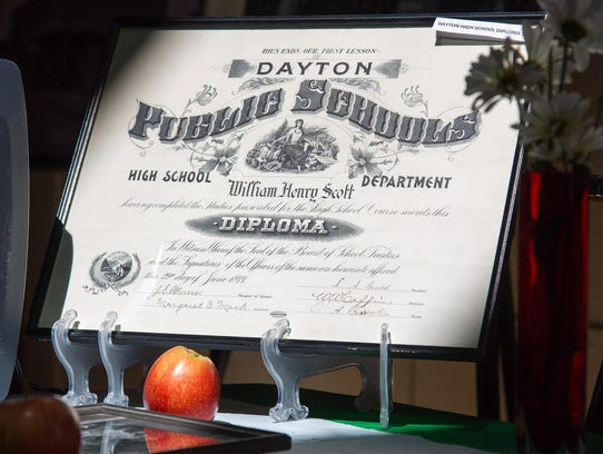 An 1899 Dayton Public Schools High School diploma is