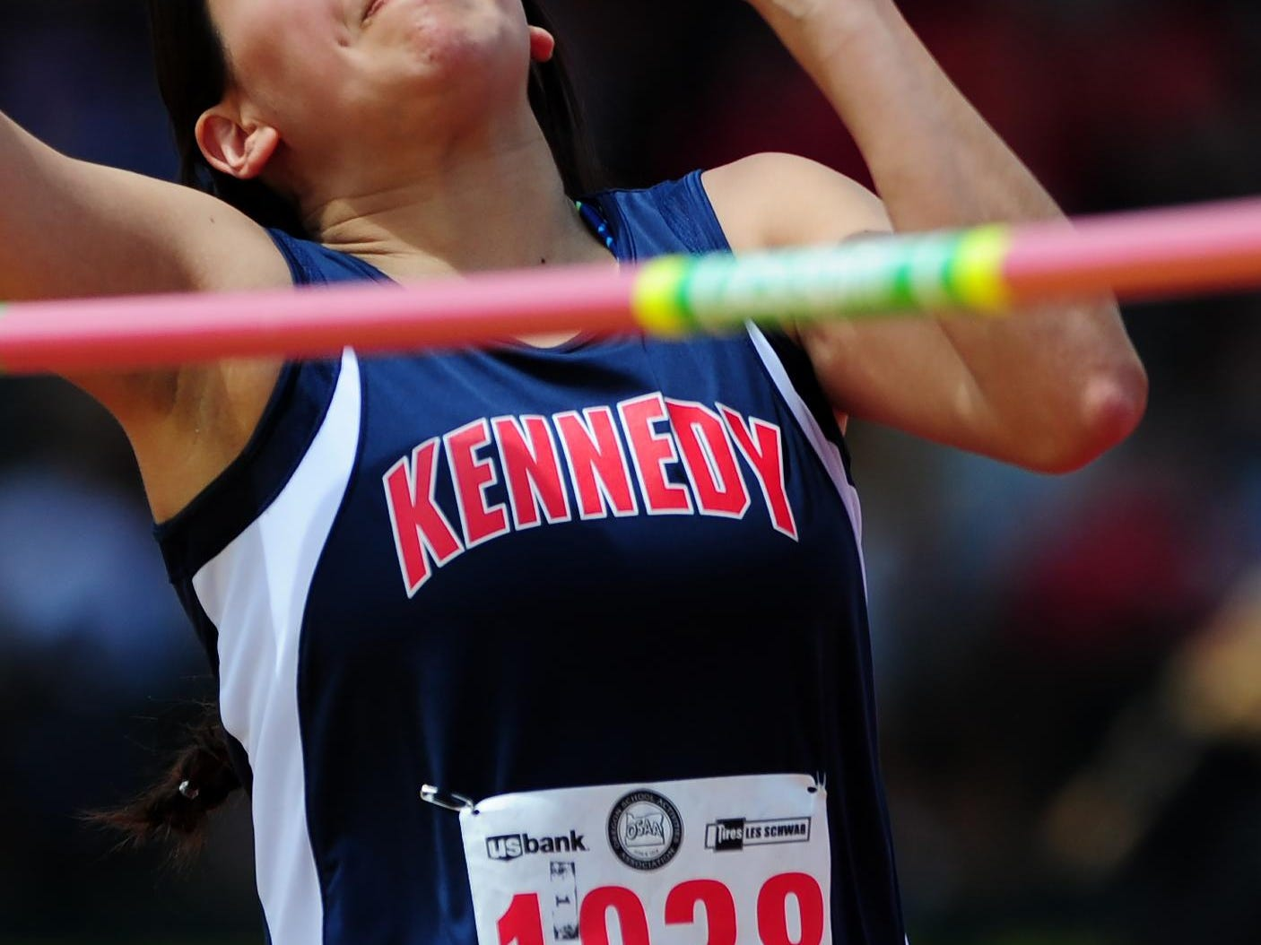 Kennedy high jumper Lakin Susee competes during the OSAA Class 2A Track & Field Championships inside Hayward Field at the University of Oregon, on Thursday, May 21, 2015, in Eugene.