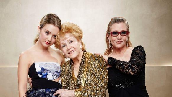Debbie Reynolds is flanked by granddaughter Billie