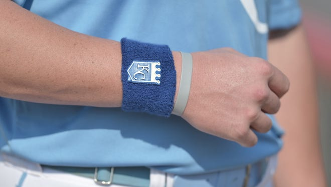 A detail view of the wristbands worn by all members of the Liberal Bee Jays as a tribute to Kaiser Carlile