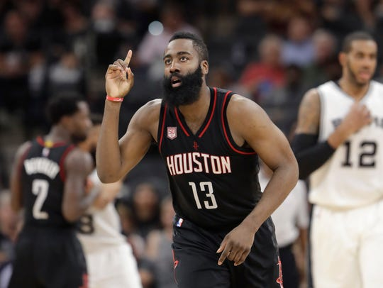 Houston Rockets guard James Harden (13) during the