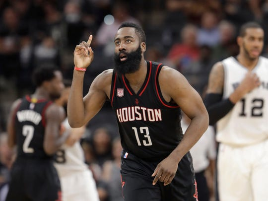 Houston Rockets guard James Harden (13) during the second half of Game 5 in a second-round NBA basketball playoff series against the San Antonio Spurs, Tuesday, May 9, 2017, in San Antonio. (AP Photo/Eric Gay)