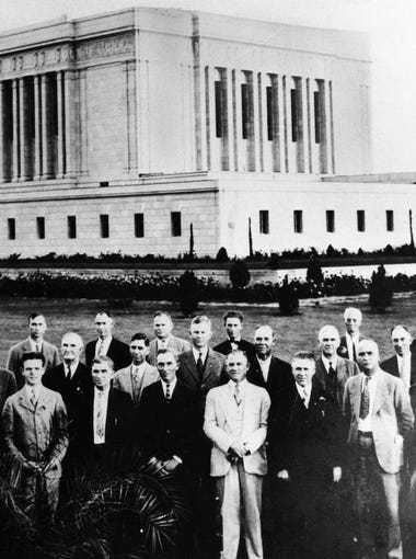 "The Mesa Arizona Temple in 1927 at the time was the third largest in the LDS church and the largest outside of Utah. About 10,000 people gathered for opening ceremonies when the temple in Mesa opened. It was the first in Arizona. ""A silvery sun appeared, radiant over over hazy mountains. The great choir was standing. A hush settled over the multitude,"" the Republican reported. Heber J. Grant, president of the Church of Jesus Christ of Latter-day Saints, was on hand for the ceremonies."
