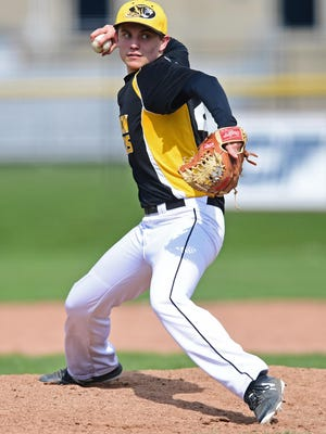 Cuyahoga Falls starting pitcher Landon Nagle delivers in the third inning during a game against Stow.