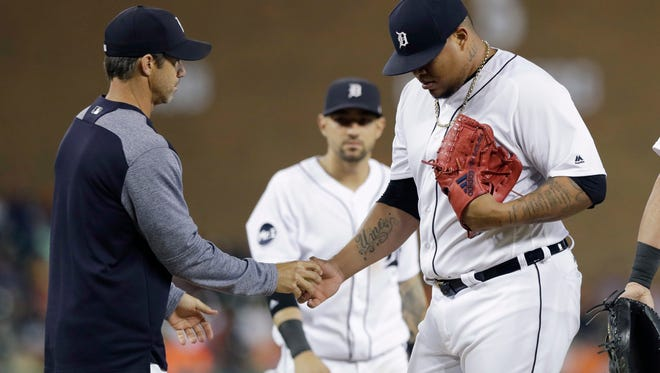 Tigers pitcher Bruce Rondon is removed during the eighth inning of the Tigers' 6-5 loss to the Astros on Friday, July 28, 2017, at Comerica Park.