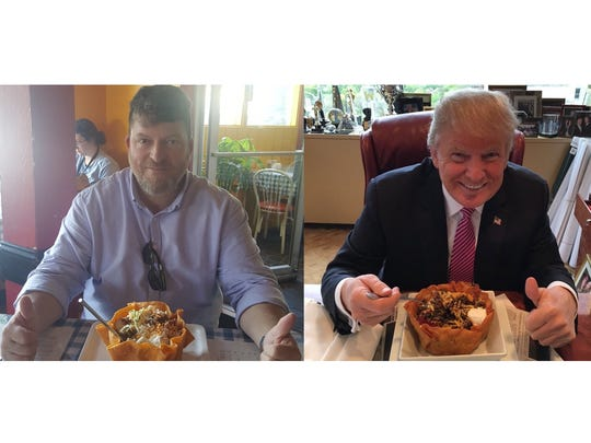 "Matt Jansen poses with a taco bowl, remaking an image posted on Donald Trump's Twitter account in which the then-presidential candidate tweeted, ""I love Hispanics!"""