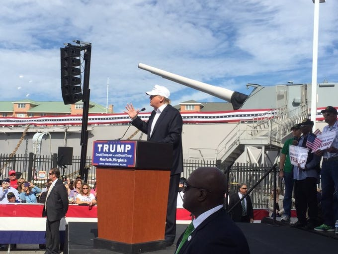 from the Donald Trump rally at the USS Wisconsin in Norfolk, Virginia ...