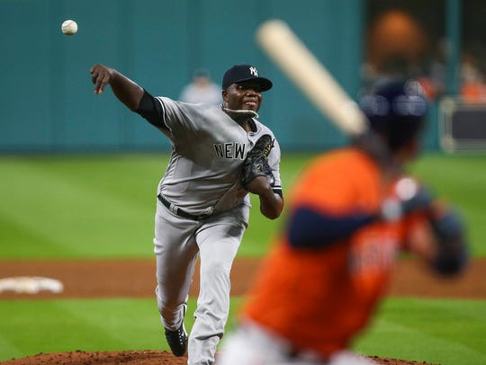 New York Yankees starting pitcher Michael Pineda (35)