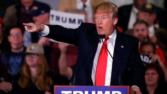 Donald Trump speaks during a Nevada rally on Feb. 23,