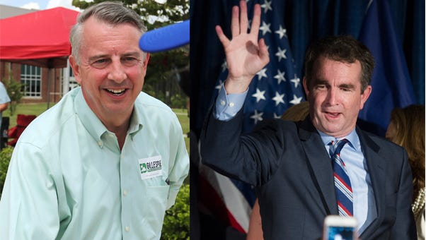 From left: Then-candidates, Republican Ed Gillespie and Democrat Ralph Northam.