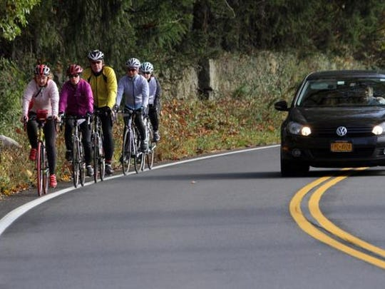 Cyclists must ride single file on all Orangetown roads under a recently passed law.