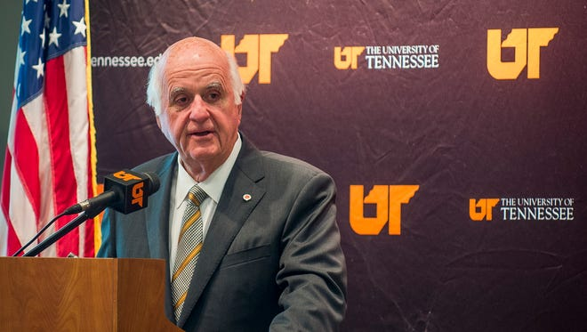 University of Tennessee alumnus John Tickle speaks to the Board of Trustees after they voted to name UT Knoxville's College of Engineering after Tickle during their meeting on the UT Knoxville campus on Friday, Oct. 14, 2016.