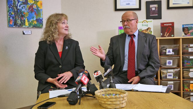 Indiana Superintendent of Public Instruction Glenda Ritz (left) and Democratic candidate for governor John Gregg talk about their proposal for the first statewide, prekindergarten program in Indiana. The news conference was at the Amy Beverland Early Learning Center in Indianapolis on June 16, 2016.