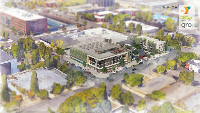 A conceptual rendering of the aerial view of the new YMCA building planned for downtown Salem, submitted Monday, June 11, 2018, by CB|Two Architects.