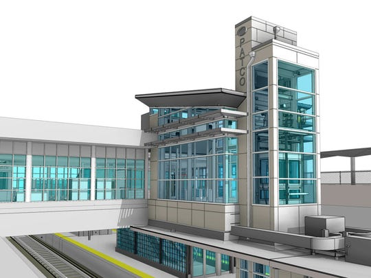 Artist-rendered view of the PATCO station in Haddonfield with an elevator tower addition on one side of the station
