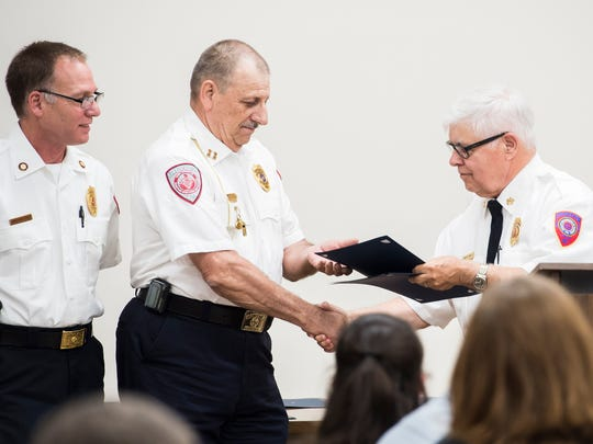Fire Police Captain Richard Angel is awarded the Departmental Certificate of Appreciation during the Hanover Area Fire and Rescue commendation awards ceremony at the Penn Township Municipal Center on June 21, 2018.