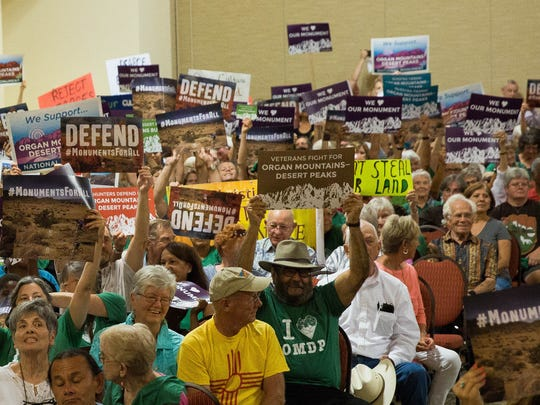 Supporters of the Organ Mountains-Desert Peaks National Monument, cheer during a town hall organized by the City of Las Cruces as well as other groups, Thursday July 27, 2017, at the Las Cruces Convention Center.