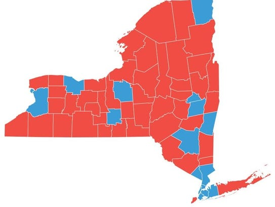 A map of how New York counties voted in the presidential
