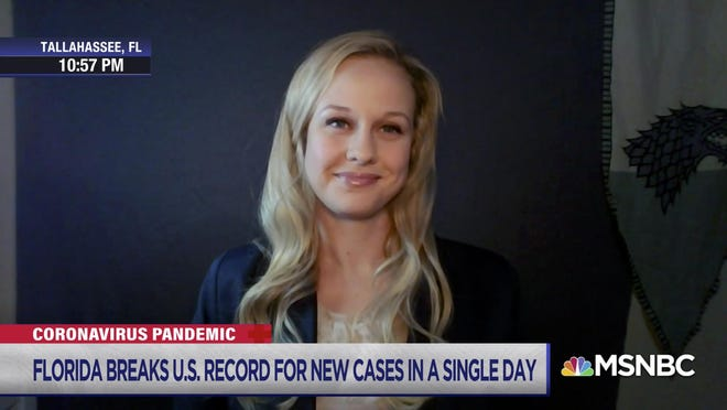 Rebekah Jones in a still shot from an appearance on MSNBC in mid-July.