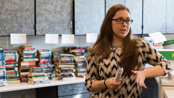 Harper Creek High School Librarian Samantha Roslund estimates that more than 5,000 books will be available in the school's book sale May 30.