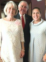 Jane and John Hubbard and daughter Rebecca Jones, of Louisville, Ky., at John's retirement celebration.