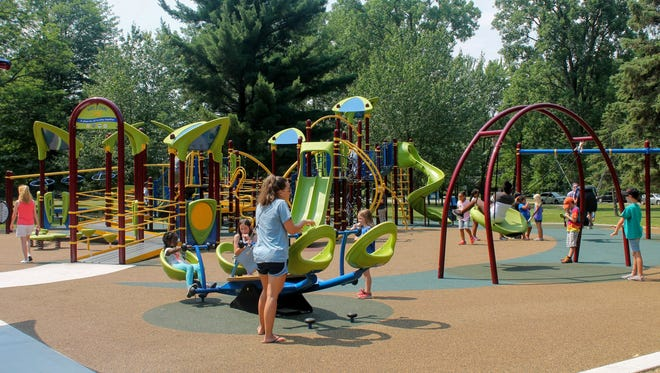 The new universally-accessible playground at Livonia's Rotary Park.