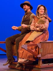 "Matthew Lloyd (Pa Ingalls)   and Jessica Cross (Ma Ingalls) in ""A Laura Ingalls Wilder Christmas"" by The WordPlayers."