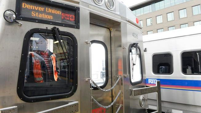 One of the new RTD  FasTracks trains that travels from Denver's Union Station to the Denver International Airport is previewed on April 11.