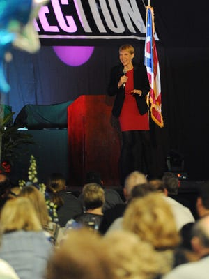 Marti MacGibbon speaks at the annual Chamber of Commerce dinner Tuesday at Ohio University Chillicothe.