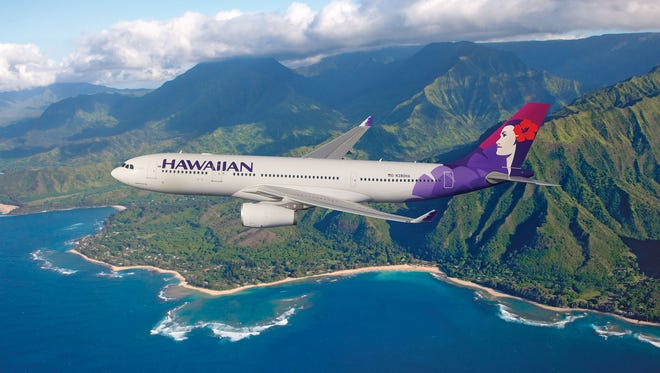 This image, also provided by Hawaiian, shows one of its Airbus A330-200s in the carrier's current livery.