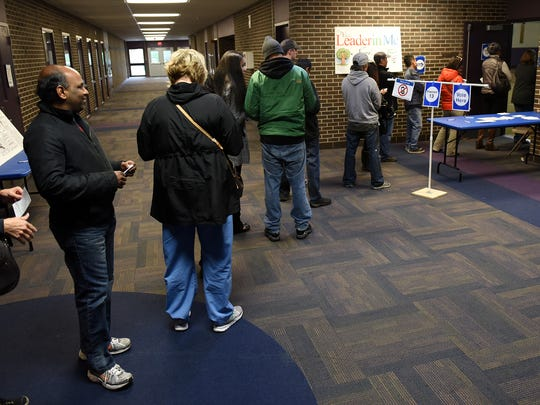 A line to vote snakes out the door at Novi Meadows around 3 p.m. Once inside, though, voters found little wait to get the ballot.