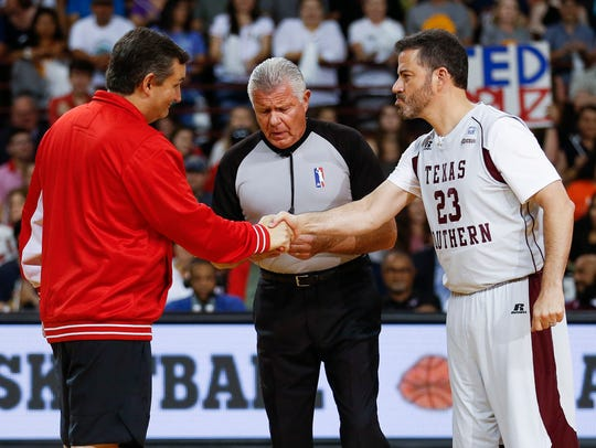 Sen. Ted Cruz and Jimmy Kimmel shake hands before the
