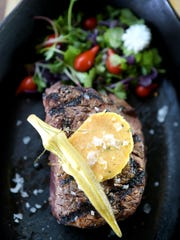 Capitol Grille's Double H Farms Filet, grilled then finished in cast-iron Lodge pan