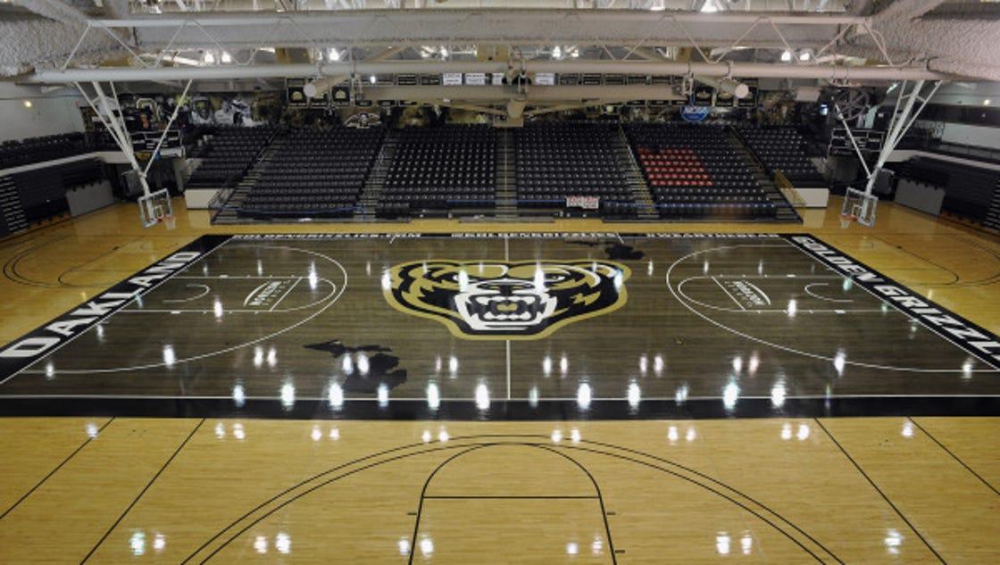 Oakland university unveils its new 39 blacktop 39 basketball court for Oakland flooring