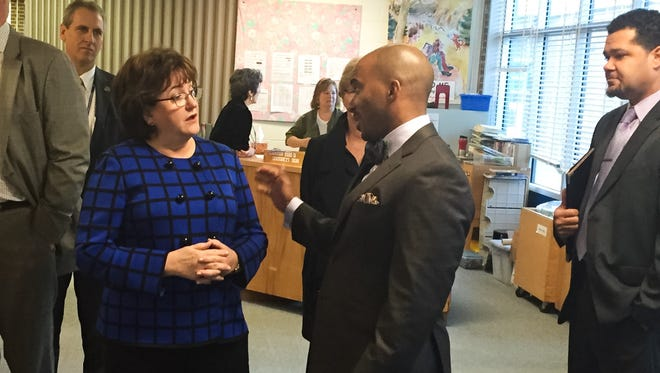 New York State Education Commissioner MaryEllen Elia meets with Ithaca City School District Superintendent Luvelle Brown at Northeast Elementary School Friday.