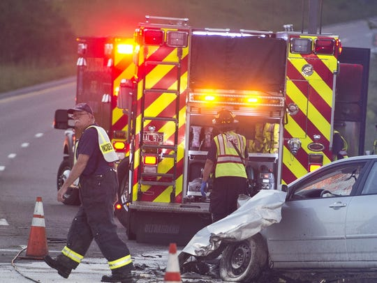 Williston firefighters respond to a car crash July