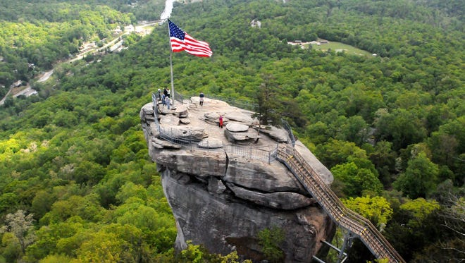 A view of Chimney Rock from above on Friday, May 1, 2015. The outcropping trail in the park is being restored and will be open later this month.