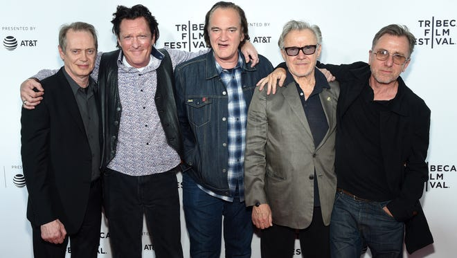 """Steve Buscemi, left, Michael Madsen, Quentin Tarantino, Harvey Keitel and Tim Roth attend the """"Reservoir Dogs"""" Screening during 2017 Tribeca Film Festival on April 28 in New York."""